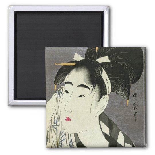 Woman Wiping Sweat Utamaro Fine Japanese Art 2 Inch Square Magnet