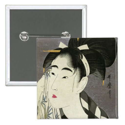 Woman Wiping Sweat Utamaro Fine Japanese Art Button