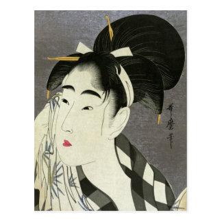 Woman Wiping Sweat Utamaro Fine Japanese Art Postcard