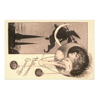 Woman Witch Crescent Moon Jack O' Lantern Photo Print
