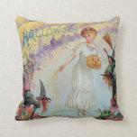 Woman Witch Goblin Jack O Lantern Pumpkin Pillow
