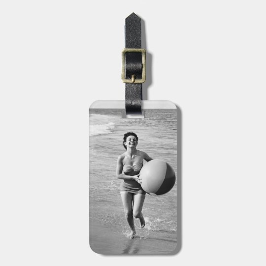 Woman with a Beach Ball Luggage Tag