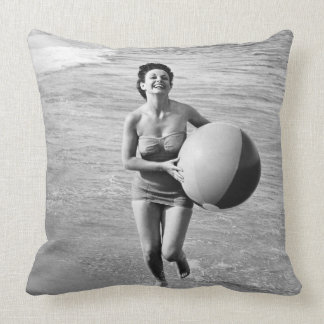 Woman with a Beach Ball Throw Pillow