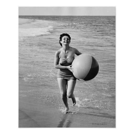 Woman with a Beach Ball Poster