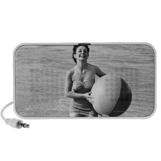 Woman with a Beach Ball Speakers