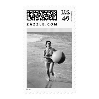 Woman with a Beach Ball Stamp
