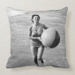 Woman with a Beach Ball Throw Pillow