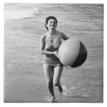 Woman with a Beach Ball Tile