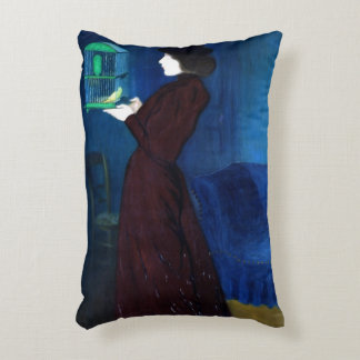 Woman with a Bird Cage Accent Pillow