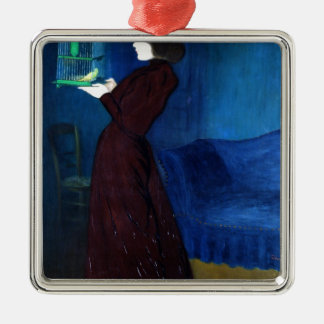 Woman with a Bird Cage Metal Ornament