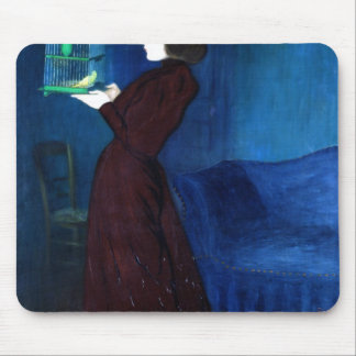 Woman with a Bird Cage Mouse Pad