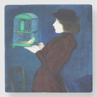 Woman with a Bird Cage Stone Coaster