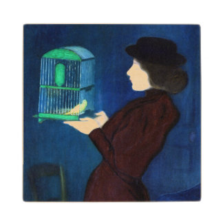 Woman with a Bird Cage Wood Coaster