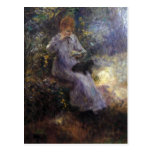 Woman with a black dog by Pierre Renoir Postcards