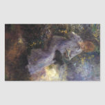 Woman with a black dog by Pierre Renoir Rectangle Sticker