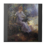 Woman with a black dog by Pierre Renoir Tiles