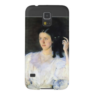 Woman with a Black Pet Cat Case For Galaxy S5