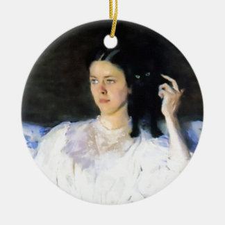 Woman with a Black Pet Cat Ornament