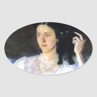Woman with a Black Pet Cat Oval Sticker