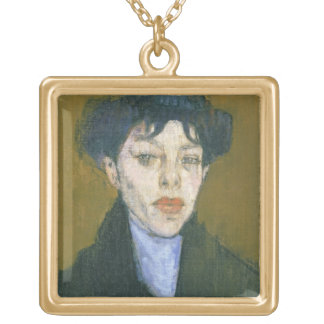Woman with a Blue Scarf, c.1912 (oil on canvas) Gold Plated Necklace