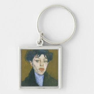 Woman with a Blue Scarf, c.1912 (oil on canvas) Silver-Colored Square Keychain