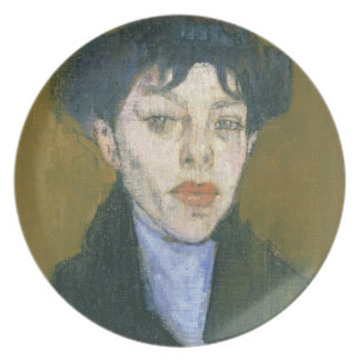 Woman with a Blue Scarf, c.1912 (oil on canvas) Melamine Plate
