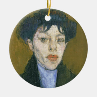 Woman with a Blue Scarf, c.1912 (oil on canvas) Christmas Tree Ornament