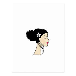 woman with a bun postcard