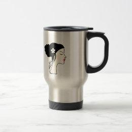 woman with a bun travel mug