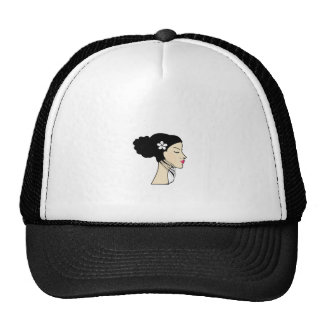 woman with a bun trucker hat