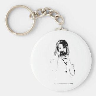 woman with a camera basic round button keychain