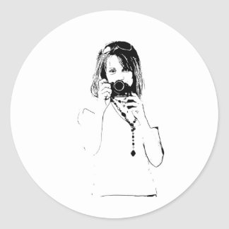 woman with a camera classic round sticker