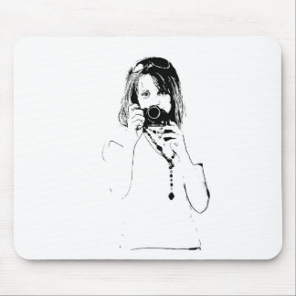woman with a camera mouse pad