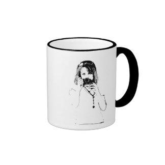 woman with a camera ringer mug