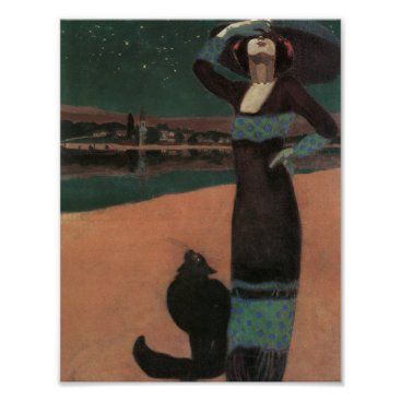 Beach Themed Woman with a Cat by Geza Poster