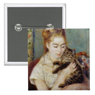 Woman with a Cat by Pierre-Auguste Renoir Pinback Button