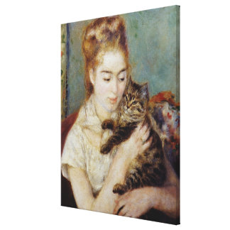 <Woman with a Cat> by Pierre-Auguste Renoir Canvas Print