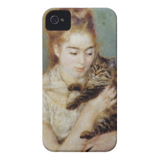 Woman with a Cat by Pierre-Auguste Renoir iPhone 4 Case-Mate Case
