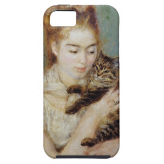 <Woman with a Cat> by Pierre-Auguste Renoir iPhone SE/5/5s Case