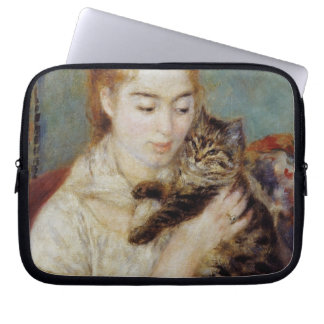 Woman with a Cat by Pierre-Auguste Renoir Laptop Sleeve