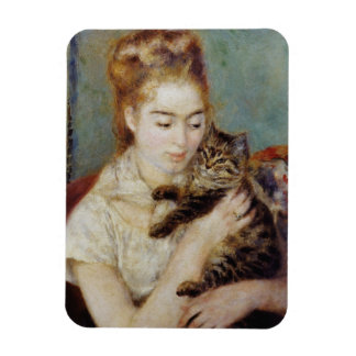 Woman with a Cat by Pierre-Auguste Renoir Magnet
