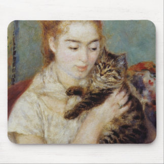 Woman with a Cat by Pierre-Auguste Renoir Mouse Pad