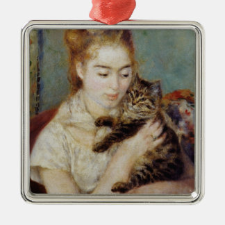 Woman with a Cat by Pierre-Auguste Renoir Ornaments