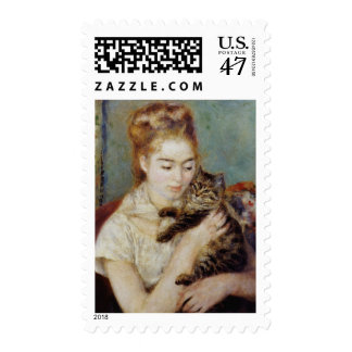 Woman with a Cat by Pierre-Auguste Renoir Postage