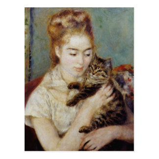 Woman with a Cat by Pierre-Auguste Renoir Postcard