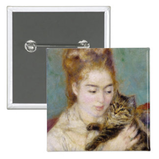 Woman with a Cat, c.1875 (oil on canvas) 2 Button
