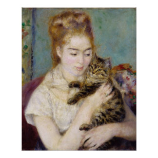 Woman with a Cat, c.1875 (oil on canvas) 2 Perfect Poster
