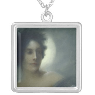 Woman with a Crescent Moon or, The Eclipse, 1888 Silver Plated Necklace
