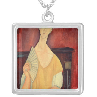 Woman with a Fan  1919 Silver Plated Necklace