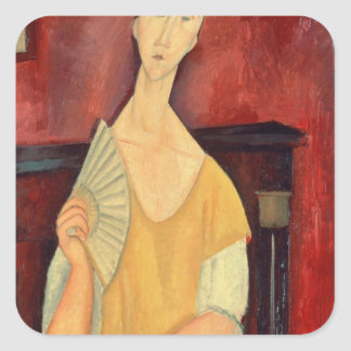 Woman with a Fan  1919 Square Sticker